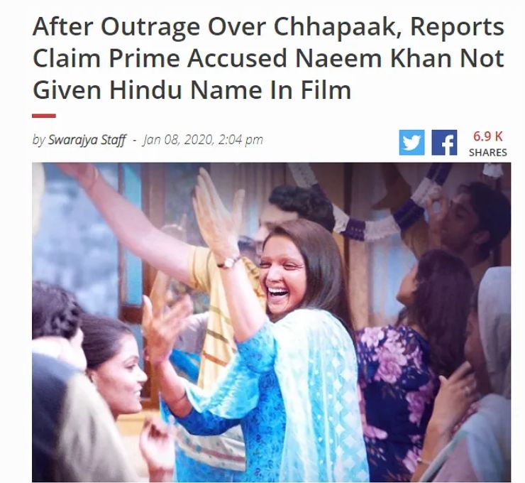 acid attacker name 'Chhapaak' changed from Nadeem Khan to Rajesh fake - Satya Hindi