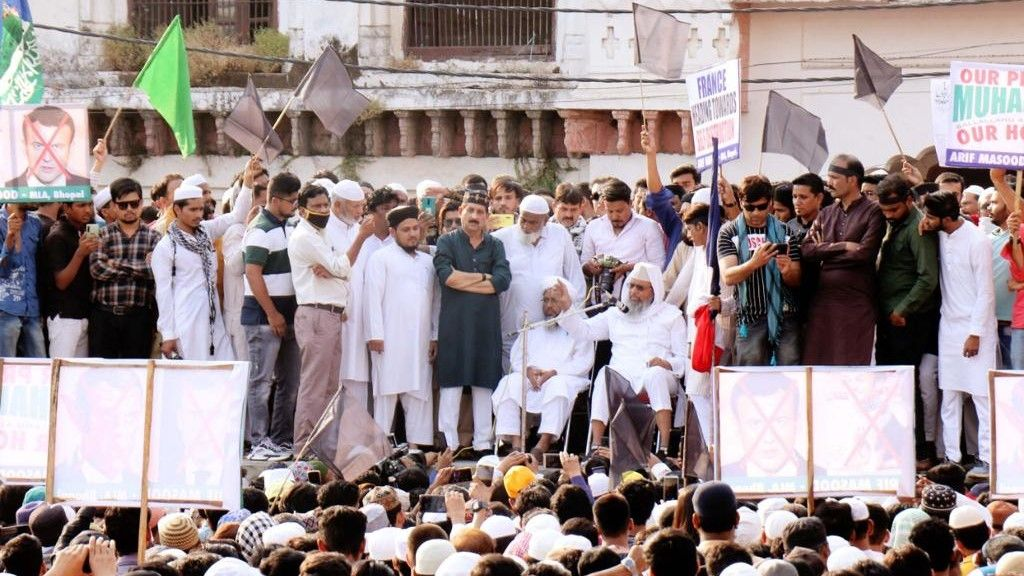 Emmanuel macron statement on islam Protests in Bhopal  - Satya Hindi